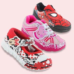 Group shot of Spiderman, Peppa Pig & Minnie Mouse character shoes