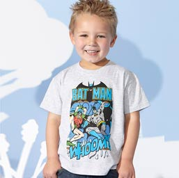 Boy wearing a batman t-shirt