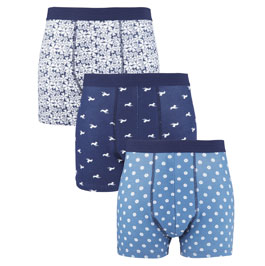 Patterned & plain navy boxers