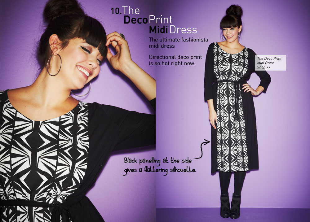 the deco print midi dress