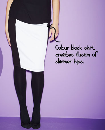 the monochrome pencil skirt