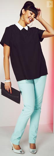 Contract Colour Blouse & Peppermint Coloured Jeans