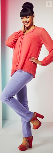 Open Collar Blouse & Coloured Jeans