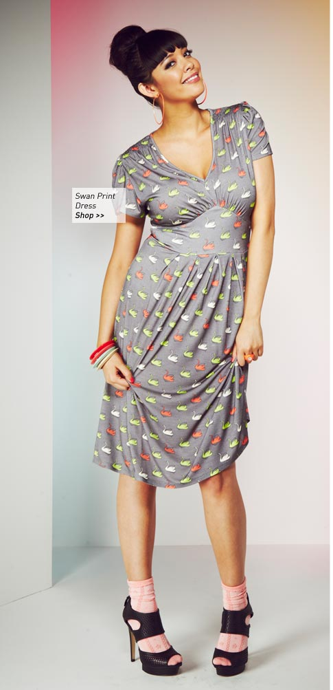 Swan Print Jersey Dress
