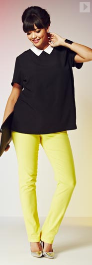 Contrast Collar Blouse & lemon Coloured Jeans