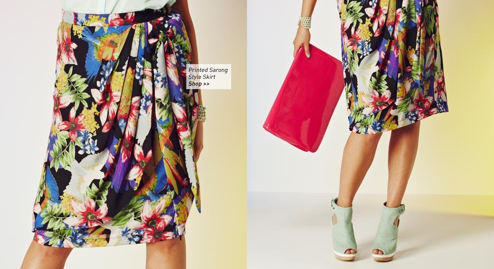 printed sarong style skirt