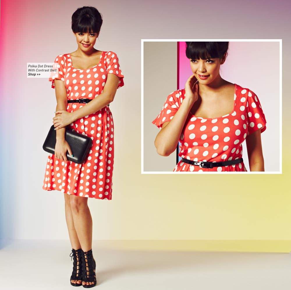 Polka Dot Dress With Contrast Belt