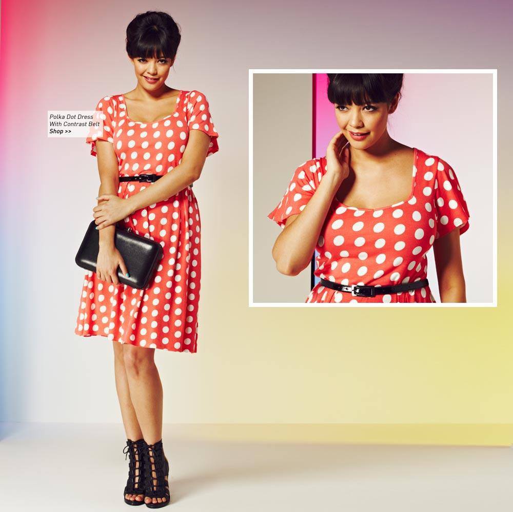 Polka Dot Dress With Contrast Belt