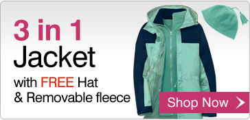 3 in 1 Jacket with FREE Hat & removable fleece