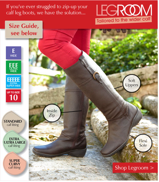 Legroom Boots - if you've ever struggled to zip-up your calf leg boots, we have the solution... Up to EEEEE extra super wide fitting, and up to size 10. Shop Now