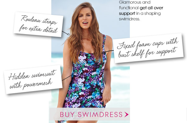 Glamorous and functional get all over support in a shaping swimdress.