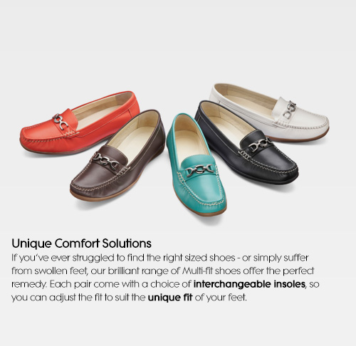 Unique Comfort Solutions If you've ever struggled to find the right sized shoes - or simply suffer from swollen feet, our brilliant range of Multi-fit shoes offer the perfect remedy. Each pair come with a choice of interchangeable insoles, so you can adjust the fit to suit the unique fit of your feet.