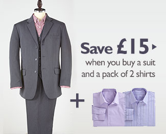 Save £15 when you buy a suit and a pack of 2 shirts
