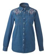 Shop Embroided Denim Shirt >