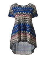 Shop Folk Print Short Sleeve High Low Hem Top >
