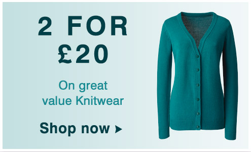 2 for £20 on value knitwear