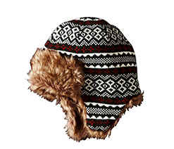 Printed Trapper Hat with Fur Trim