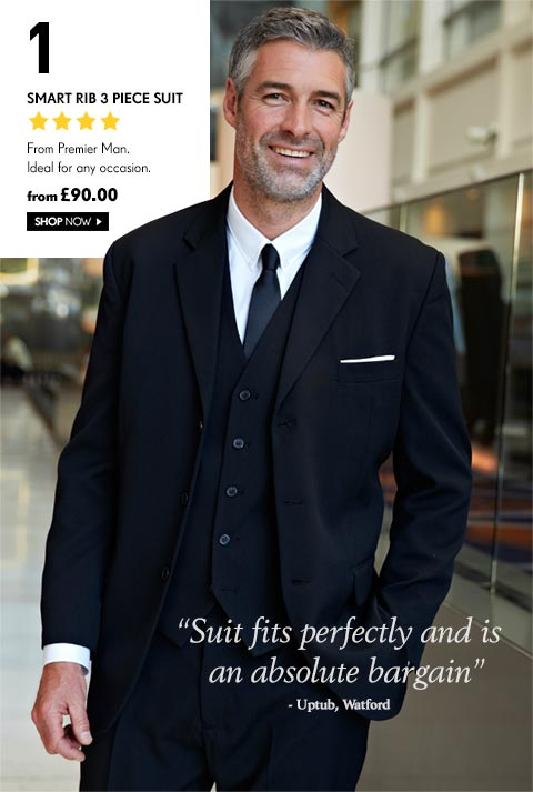 Smart Rib 3 Piece Suit from Premier Man. Ideal for any occasion - from £90.00