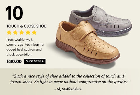 Touch & Close Shoe From Cushionwalk. Comfort gel technlogy for added heel cushion and shock absorbtion. £30.00