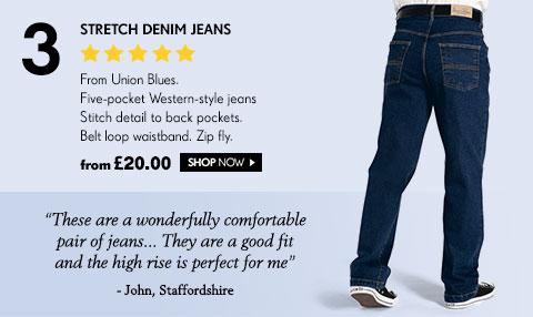 Stretch Denim Jeans From Union Blues. Five-pocket Western-style jeans Stitch detail to back pockets. Belt loop waistband. Zip fly. from £20.00