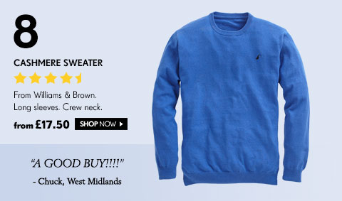 Cashmere Sweater From Williams & Brown. Long sleeves. Crew neck. from £17.50