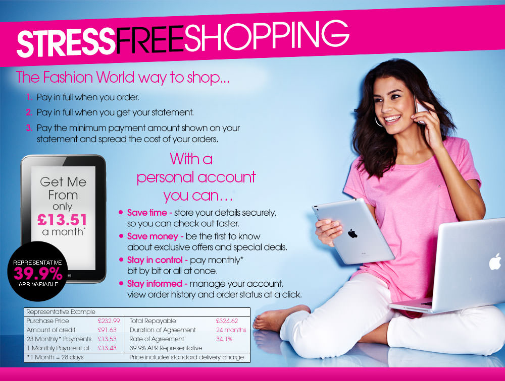 Stress Free Shopping ... the Fashion World way!