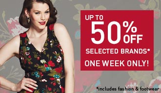 50% off selected brands