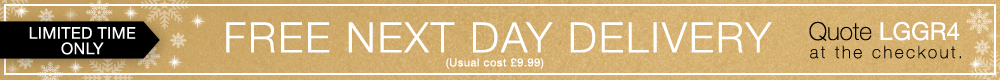 FREE Next Day Delivery banner. Quote LGGR4