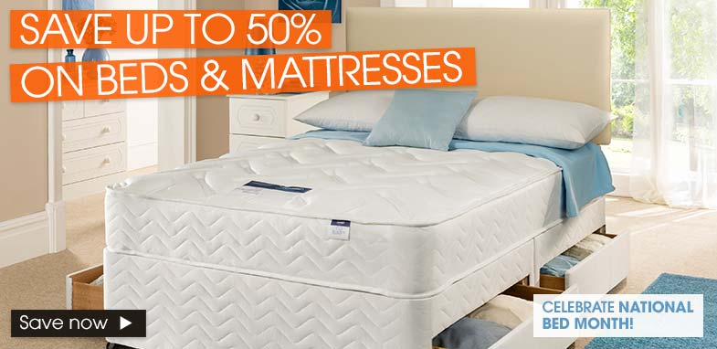 Save up to 50% on Beds & 