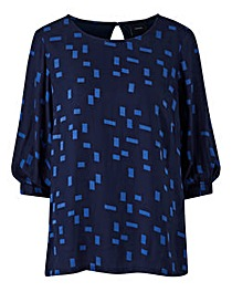 I.Scenery Abstract Print Blouse