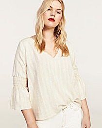 Violeta by Mango Fluted Sleeve Top