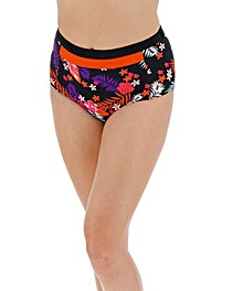Tropical Print High Waist Bikini Bottoms