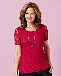 Lined Lace Jersey Top