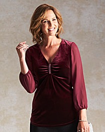 Velour Tunic with Georgette Sleeves