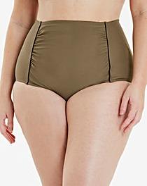 Khaki High Waist Bikini Bottoms