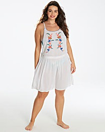 White Embroidered Beach Pinafore