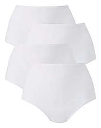 4 Pack Full Fit Cotton White Briefs