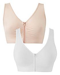 2Pk Zip Front Blush/White Comfort Tops