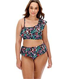 One Shoulder Frill Bikini Set