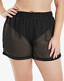 Black Georgette Beach Shorts