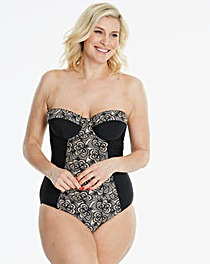 Black Lace Print Underwired Swimsuit