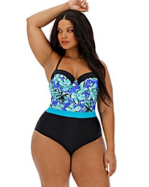 Print Panelled Bandeau Swimsuit