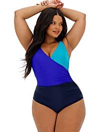 Colour Block Wrap Over Swimsuit