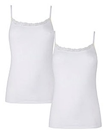 2 Pack Cotton and Lace White Vests
