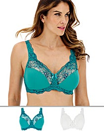 2Pack Ella Lace NonWired Pck/White Bra