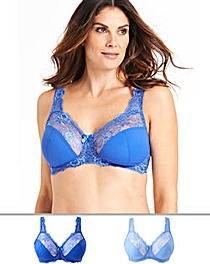 2Pack Ella Lace NonWired Blue Multi Bra