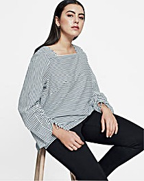 I.Scenery Stripe Cotton Blouse