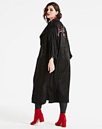 Koovs Embroidered Longline Jacket