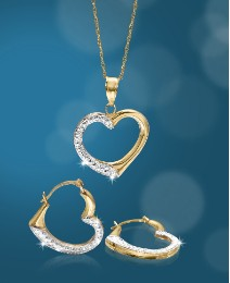 9Ct Gold Heart Pendant & Earrings Set