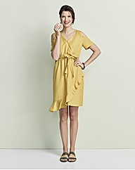 Ochre Wrap Linen Dress
